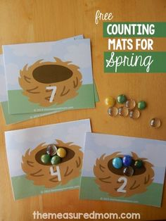 This is a lovely math activity for spring! Just print the free counting mats and grab some colorful glass gems. This is a lovely math activity for spring! Just print the free counting mats and g Counting Activities, Easter Activities, Spring Activities, Classroom Activities, Activities For Kids, Spring Preschool Theme, Montessori Math, Preschool Learning, Kindergarten Math