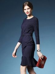 Autumn Women's Fashion Plaids Package Hip Knee-length Ruffle Hem Long Sleeve Dress With Belt