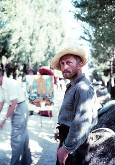 raggedglory:    Kirk Douglas as Vincent van Gogh on the set ofLust for Lifein Arles, France, photographed by Frank Scherschel in 1956.