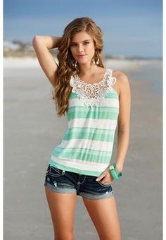 STRIPED TANK WITH CROCHET RACERBACK | Body Central