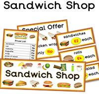 FREE sandwich shop role play resources for the classroom. Our sandwich shop role… Preschool Centers, Preschool Classroom, Classroom Themes, Preschool Ideas, Kindergarten, Dramatic Play Themes, Dramatic Play Area, Dramatic Play Centers, Restaurant Themes
