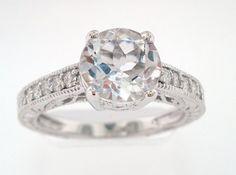14K White Gold White Topaz & Diamonds Engagement Ring 2.02ct VS1