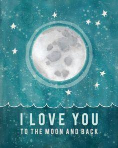 Pour la lune et retour / / Baby Shower Gift, pépinière Art, décoration chambre bébé, impression typographique, lune et étoiles, Illustration...