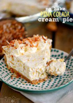 No Bake Pina Colada Cream Pie