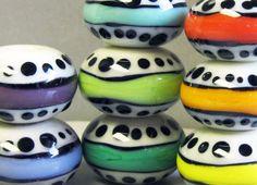 Spotty Stripey SaucersHandmade Lampwork Beads by beadygirlbeads, $50.00