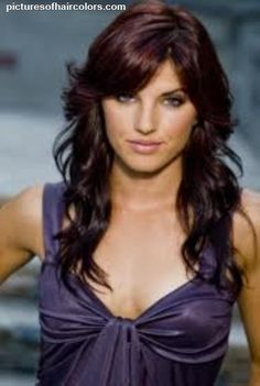 Love this cut and color <3 Dark chocolate brown hair color with purple.