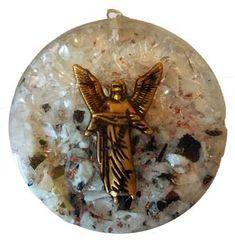 "Archangel Uriel Charm on 1-1//2/"" Quartz /& Citrine Orgone Gemstone Pendant"