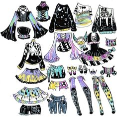 Custom Mix and Match outfits 9 by Guppie-Vibes on DeviantArt Clothing Sketches, Dress Sketches, Art Drawings Sketches, Fashion Design Drawings, Fashion Sketches, Drawing Anime Clothes, Manga Kawaii, Cute Kawaii Drawings, Dibujos Cute