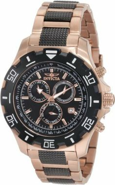 Invicta Men's 1221 Invicta II Chronograph Black Dial 18k Rose Gold-Ion Plated Stainless Steel Watch Invicta. $99.99. Water-resistant to 330 feet (100 M). Chronograph functions with 60 second, 30 minute and day of the week subdials outlined in rose gold tone; Date function. Swiss Quartz movement. Flame-fusion crystal; Brushed and polished 18k rose gold ion-plated stainless steel case and bracelet with textured gunmetal center links. Black dial with rose gold tone hands ...