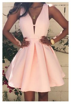 Women Fashion Casual Dress v-Neck Sleeveless Pink Evening Party Dresses