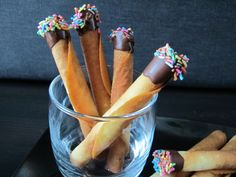 "Chocoholic: Chocolate Dipped Tuile ""Cigarettes"" Make it chocolate, fill with ricotta"