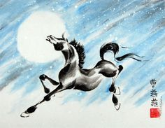 Horse is set in a snowstorm against a heavenly moon. Ink, colored pigments on rice paper by Tracie Griffith Tso of Reston, Va.