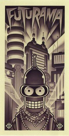 Futurama Bender Black & White