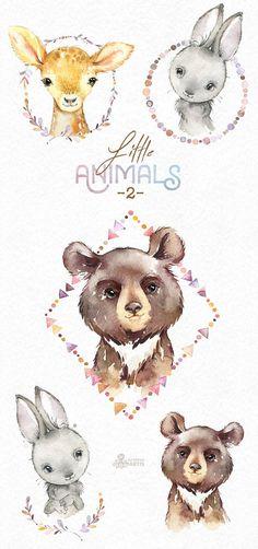 Little Animals 2. Watercolor clipart bear bunny deer
