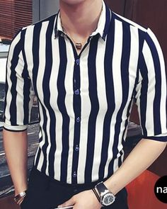 Black and white striped shirt for men half sleeve button down shirts plus size clothing is part of White shirt men - Black Shirt Outfit Men, White Shirt Men, Black And White Shirt, White Shirts, Outfits With Striped Shirts, White Shirt Outfits, Stripe Shirts, Formal Men Outfit, Formal Shirts For Men