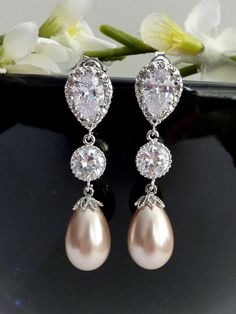 Wedding Bridal Earring - Champagne Teardrop Pearl, Round CZ Drop with White Gold Plated Peardrop Cubic Zirconia Post Earring