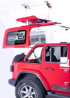 Every year, when the seasons change, it's time to switch from your hardtop to a soft top. This is every Wrangler owner's least favorite part of owning a Jeep. Instead of dreading the switch, make it a breeze with the Lange Originals Crank Hoist-A-Top. Garage Hoist, Garage Storage, Storage Racks, Jeep Wrangler Accessories, Jeep Accessories, Jeep Wrangler Jk, Jeep Wrangler Unlimited, Jeep Jeep, Jeep Rubicon
