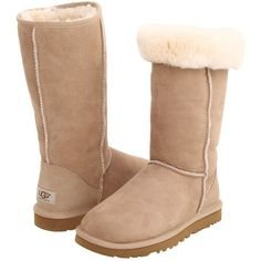 UGG Classic Tall Women's Boots, Beige ($92) ❤ liked on Polyvore featuring shoes, boots, beige, synthetic boots, low heel shoes, low heel boots, short heel boots and faux fur boots