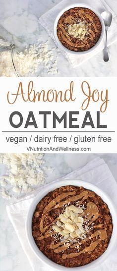 Almond Joy Oatmeal | This Almond Joy Oatmeal is healthy vegan take on Almond Joy candy and makes a delicious breakfast. vegan oatmeal recipe, vegan oatmeal via @VNutritionist