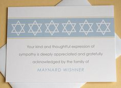 Let me create a custom Jewish thank you sympathy card for you. The last thing on your mind when grieving is remembering to send out a thank you note to those who are there for you during that difficult time. Sympathy Notes, Sympathy Thank You Cards, Thank You Verses, Thank You Notes, Expressions Of Sympathy, Olive Green Color, Condolences, Star Of David, Personalized Items