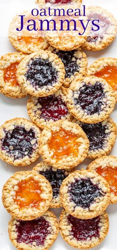 Enjoy these crispy, tender, buttery Oatmeal Jammys filled with your favorite jam and a sprinkle of streusel around the edges #oatmealcookie #oatmeal #cookie #oatmealjammies #oatmealjammy #jamfilledcookie #jamcookie #cookiewithjam #oatmealjammys