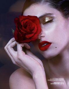 Michelle Du Xuan captures striking red beauty looks for Harper's Bazaar China