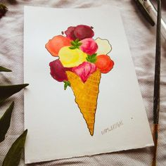 🍨🍦 Original acrylic painting of an Ice-cream in a Waffle cone🍦🍨 Stickers coming soon✨✨ Waffle Cones, Gel Pens, Waffles, Ice Cream, Stickers, The Originals, Shop, Handmade, Painting