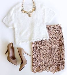 White sweater crop top + blush colored lace skirt + nude heels