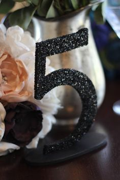 Black Glitter Wedding Table Numbers - 1-10 not in black ---- gold or silver