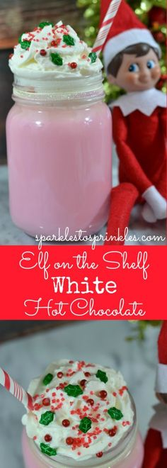 Learn how to make an Elf on the Shelf White Hot Chocolate that's mixed with beautiful holiday inspired sprinkles and candies.  It is just the right touch of magical! - from sparklestosprinkles.com