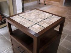 Rhyan End Table that you can build yourself. The tiled top is a nice addition! Free #plans at Ana-White.com #DIY