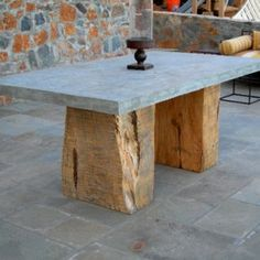 The Split Block Concrete Table is a monolithic table that is both rustic and elegant. This sculptural table has a cypress base and a concrete top that is thick for a balanced design. Table Beton, Concrete Table, Concrete Furniture, Concrete Wood, Furniture Projects, Wood Table, Table Furniture, Rustic Furniture, Furniture Making