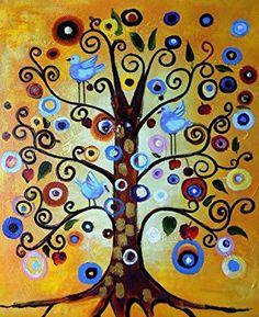 Klimt, Tree of Life - Large Fine Art oil on canvas painting - Superb quality and craftsmanship, hand made wall art from Rflkt - transcription of the inspiring work of Gustav Klimt
