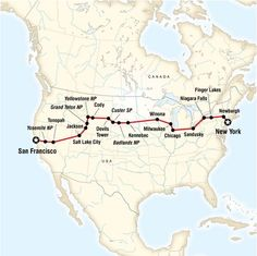Coast to Coast Camping Westbound: from New York to San Francisco. Explore the Big Apple, feel the spray of Niagara Falls, brush shoulders with cowboys in America's West, camp under the star-filled skies of the plains, hike in beautiful national parks.