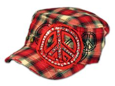 ★This is a High Quality Red Plaid Cadet Cap! Its in the Vintage Distressed Visor, Military Style Hat, from Leader. It has Embroidery with Peace Sign, Print, Black Stitching, 2 Square Studs and Jewels! [$12.97]