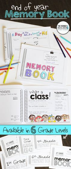 An End of the Year Memory Book designed in a fun and engaging doodly-journal style! 16+ different pages included. Get the non-grade-specific version, or click to find links to versions specific to 1st, 2nd, 3rd, 4th, 5th, or 6th grade. ($)