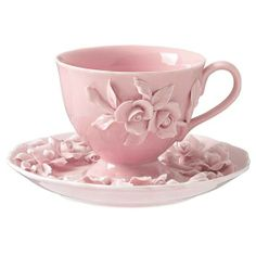 Perfect pink tea cup and saucer.