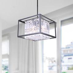 Karina Black 4-light Crystal Flush Mount Chandelier | Overstock™ Shopping - Great Deals on Chandeliers & Pendants