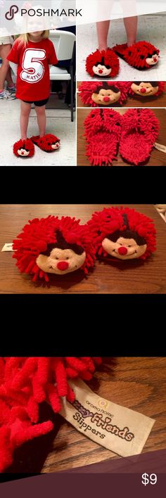Fuzzy Friends Ladybug Slippers Good used condition/One size fits up to adult size 10.Product is non heatable & non scented.Can be cleaned with a damp sponge. Aroma Home Shoes Slippers