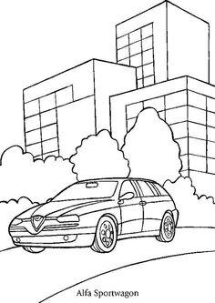 Coloriage d'une voiture Alfa Sportwagon près des buildings