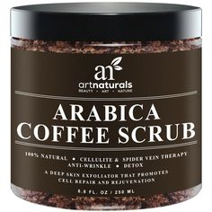 Art Naturals Organic Arabica Coffee Scrub oz -The Most Powerful Remedy for Varicose Veins,Cellulite, Stretch Marks, Eczema & Acne - Deep Skin Exfoliator That Promotes Cell Repair &Rejuvenation * Check out this great product. Coffee Cellulite Scrub, Cellulite Oil, Coconut Oil Cellulite, Coffee Face Scrub, Cellulite Remedies, Varicose Vein Remedy, Varicose Veins, Best Organic Coffee, How To Exfoliate Skin