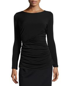 Ruched Long-Sleeve Tee, Black