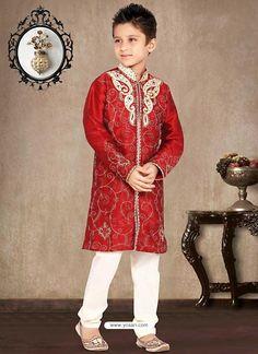 Charming Red Churidar Sherwani Model: YOB139
