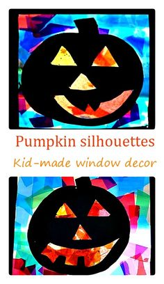 Kid Made window decor for Halloween: Pumpkin Silhouettes Craft. Instead of adding picture window effect and frame, have students cut out 2 black pumpkin silhouettes so that its pretty on both sides of the window Halloween Crafts For Kids, Halloween Activities, Halloween Projects, Art Activities, Preschool Halloween, Theme Halloween, Fall Halloween, Halloween Witches, Happy Halloween