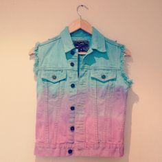 Pink and blue dip dye ombre denim vest studded jacket ($66) ❤ liked on Polyvore