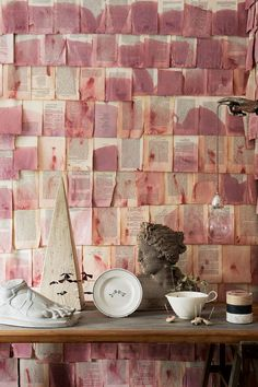 Discover our fabric and wallpaper ideas on HOUSE - design, food and travel by House & Garden, including these eclectic displays using everyday items. Instalation Art, Interior And Exterior, Interior Design, Old Book Pages, Fabric Wallpaper, Wallpaper Ideas, Wallpaper Uk, Objet D'art, Cheap Home Decor