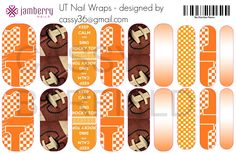 University of Tennessee Volunteers inspired custom #Jamberry Nail Wraps!! If you love them you can get them email cassy36@gmail for more info #TN, #VOLS, #UTN #football