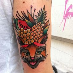Cat + fruits = awesomeness by Nick Colin #tat #tattoo #fruitycat #cattoo #cat #gato #gatuaje #cattattoo #tatuejagato #fruittattoo #tatu #tatuaje