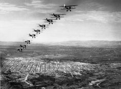 A formation of Boeing F3B-1s over Balboa Park!