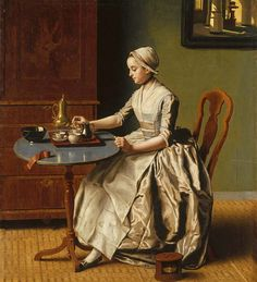 A Lady pouring Chocolate (La Chocolatière) about 1744, Jean-Etienne Liotard. National Gallery by renzodionigi, via Flickr